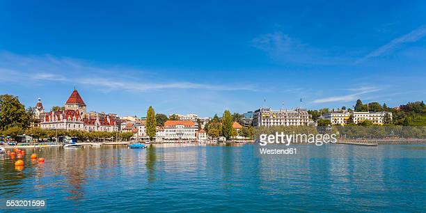 switzerland, lausanne, lake geneva, waterfront - lausanne stock pictures, royalty-free photos & images