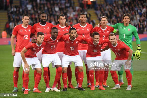Switzerland line up prior to the international friendly match between England and Switzerland at The King Power Stadium on September 11 2018 in...