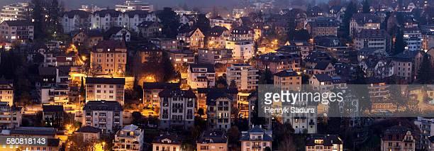 Switzerland, Lucerne, Old town at night
