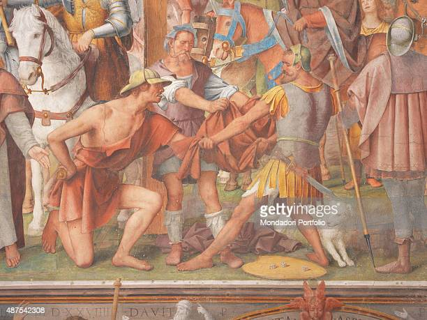 Switzerland Lugano Chiesa di Santa Maria degli Angeli Detail Some soldiers gamble with dice over the cloak of Jesus during the Crucifixion