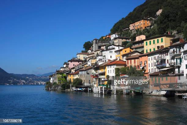 switzerland, lugano, gandria, view to houses at lake lugano - ticino canton stock pictures, royalty-free photos & images