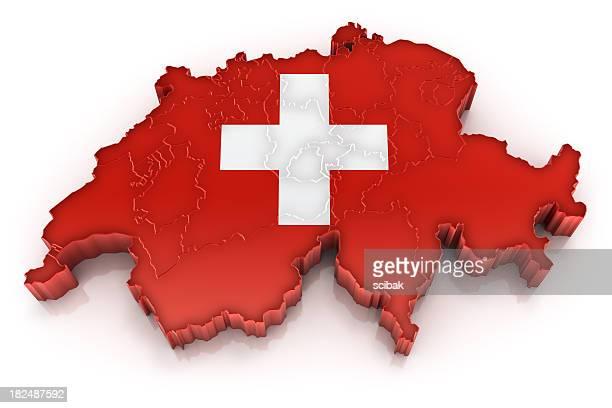 Schweiz Karte mit Flagge