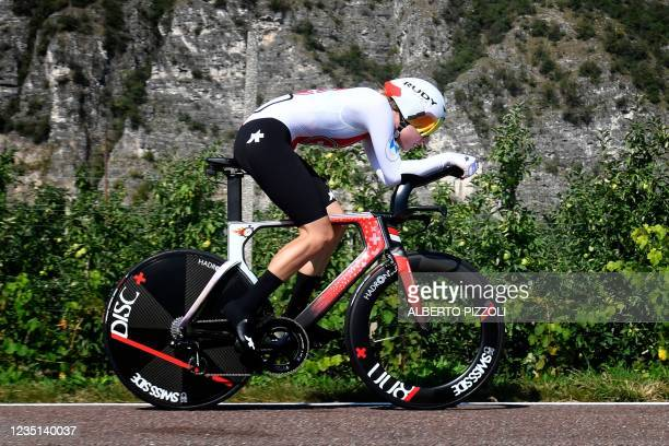 Switzerland Marlen Reusser competes during the UEC European women Elite road cycling time trial championships in Trento, on September 9, 2021.