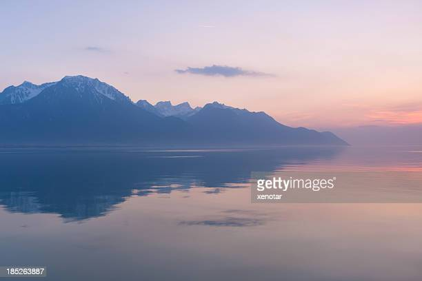 switzerland, montreux, lake and mountains - vaud canton stock pictures, royalty-free photos & images