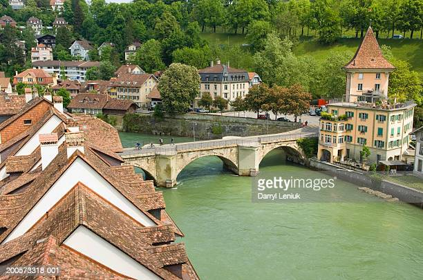 Switzerland, Old City of Bern, Buildings and bridge along Aare River