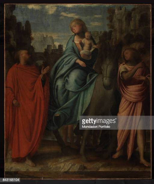 Switzerland, Orselina, Santuario della Madonna del Sasso. Whole artwork view. Saint Joseph looking at the Virgin Mary sitting on a donkey and holding...