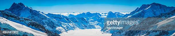 Switzerland panoramic view over Aletsch Glacier dramatic mountain peaks Alps