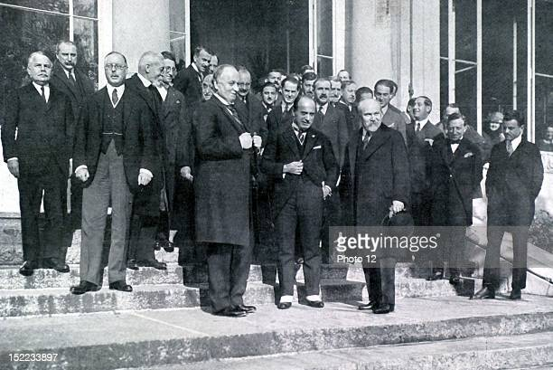 Switzerland Peace conference in Lausanne Ministers of Foreign Affairs of Great Britain Lord Curzon of Italy Mussolini and of France Mr Poincare on...