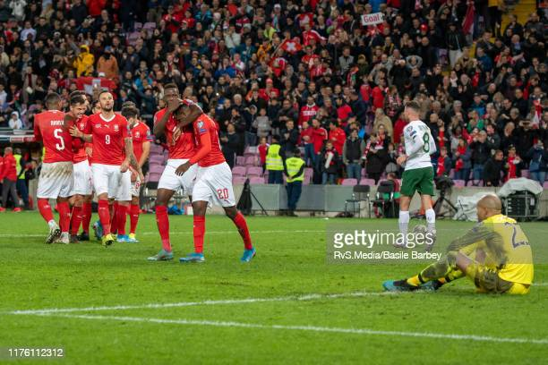 Switzerland players celebrate a goal while Goalkeeper Darren Randolph of Republic of Ireland looks dejected during the UEFA Euro 2020 qualifier...