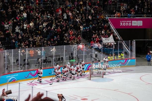 Switzerland players celebrate the win after Women's 6-Team Tournament Preliminary Round - Group B Game between Czech Republic and Switzerland of the...
