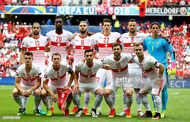 Switzerland players line up for the team photos prior to the UEFA EURO 2016 Group A match between Albania and Switzerland at Stade BollaertDelelis on...