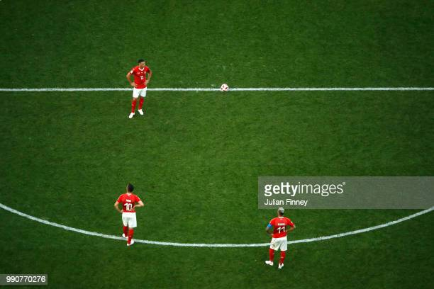 Switzerland players look dejected following their sides defeat in the 2018 FIFA World Cup Russia Round of 16 match between Sweden and Switzerlandat...