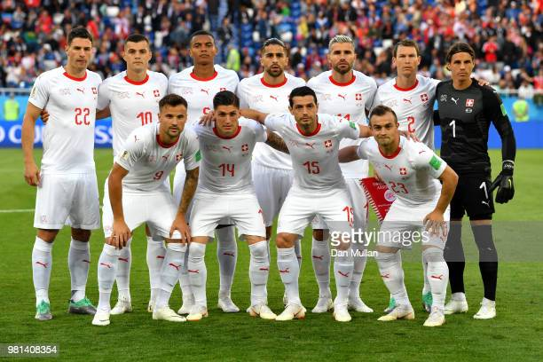 Switzerland players pose for a team photo prior to the 2018 FIFA World Cup Russia group E match between Serbia and Switzerland at Kaliningrad Stadium...
