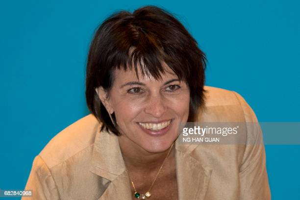 Switzerland President Doris Leuthard arrives for a session on connectivity of development policies and strategies held as part of the Belt and Road...