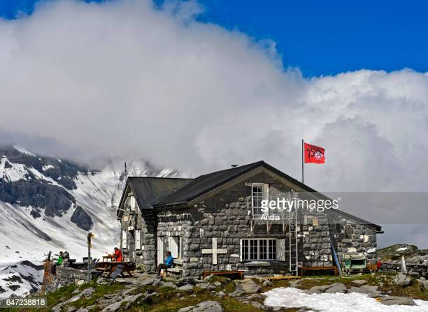 refuge mountain hut of Susanfe in the small valley of Susanfe in Champery in the Canton of Valais