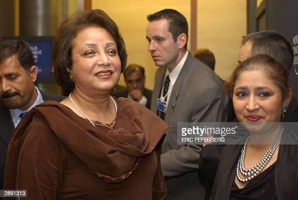 Sheba Musharraf wife of Pakistani President Pervez Musharraf is seen following her husband's speech 22 January 2004 at the annual World Economic...