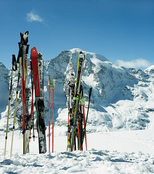 Switzerland, Skis in snow