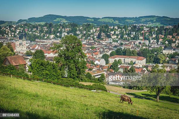 Switzerland, St Gallen, view to the city from Drei Weieren