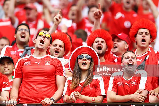 Switzerland supporters enjoy the atmosphere prior to the UEFA EURO 2016 Group A match between Albania and Switzerland at Stade BollaertDelelis on...