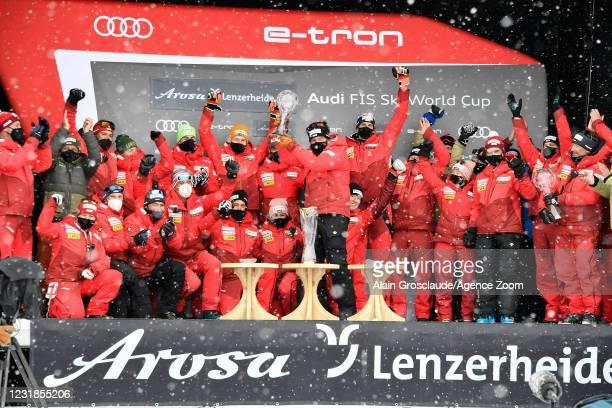Switzerland Team celebrates during the Audi FIS Alpine Ski World Cup on March 21, 2021 in Lenzerheide, Switzerland.