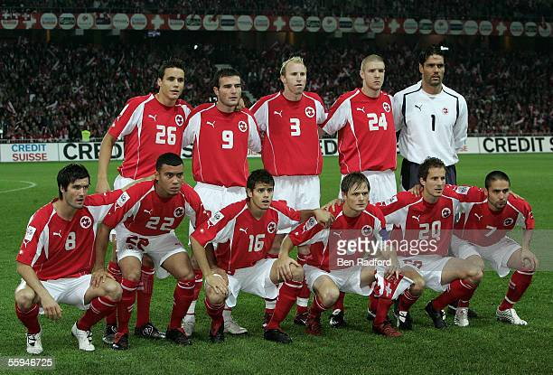 Switzerland team group before the FIFA World Cup Qualifying, Group Four match between Switzerland and France at the Stad de Suisse on October 8 in...