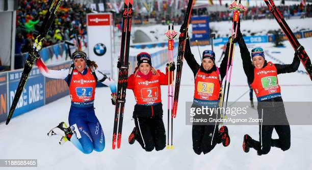 Switzerland Team takes 3rd place during the IBU Biathlon World Cup Women's Relay on December 14, 2019 in Hochfilzen, Austria.