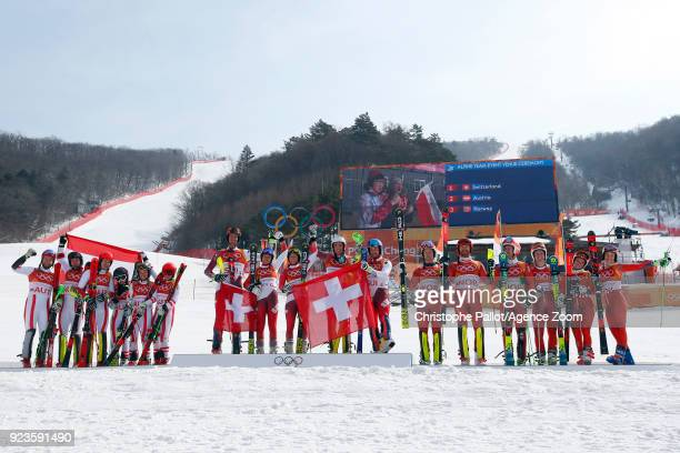 Switzerland Team wins the gold medal Austria Team wins the silver medal Norway Team wins the bronze medal during the Alpine Skiing National Team...