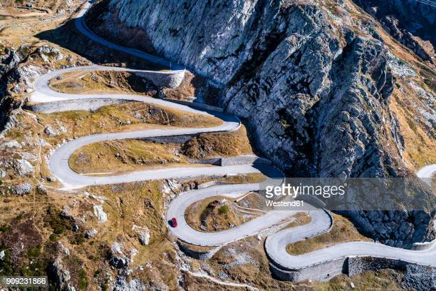 switzerland, tessin, tremola, aerial view of gotthard pass - ticino canton stock pictures, royalty-free photos & images