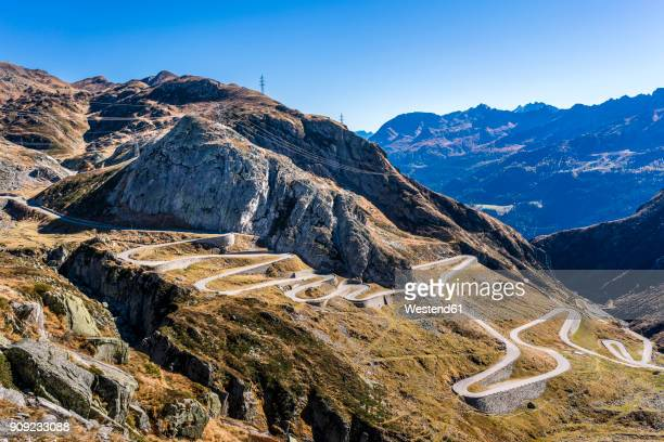 Switzerland, Tessin, Tremola, Aerial view of Gotthard Pass