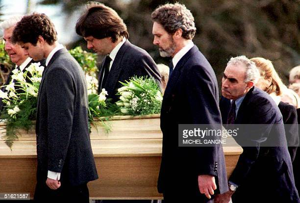 Switzerland The coffin of actress and UNICEF Special Ambassador Audrey Hepburn is carried by her sons Luca Dotti and Sean Ferrer as well as her...