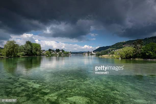 switzerland, thurgau, eschenz, view to stein am rhein - bodenmeer stockfoto's en -beelden
