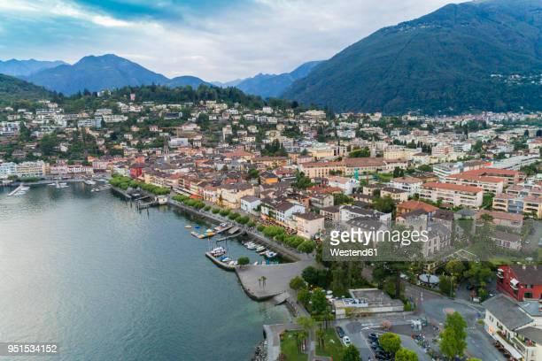 switzerland, ticino, aerial view of locarno, lake maggiore - locarno stock photos and pictures