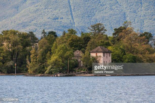 switzerland, ticino canton, brissago islands, saint apollinaire island, the smallest and uninhabited one, seen from the boat coming from ascona - ascona stock photos and pictures