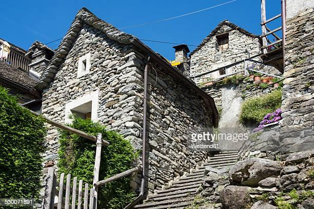 Switzerland, Ticino, Corippo, typical natural stone houses