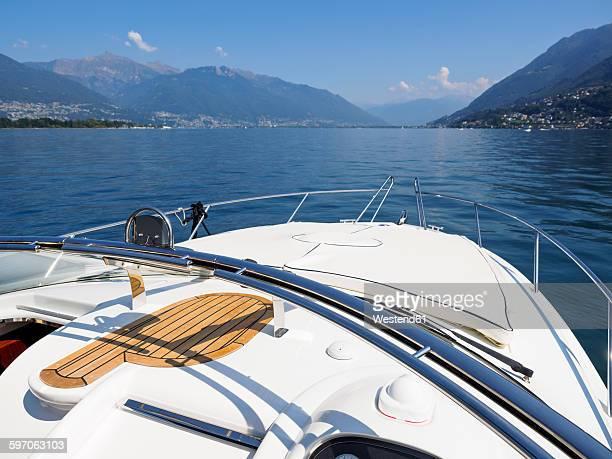 Switzerland, Ticino, Lago Maggiore, boat on lake