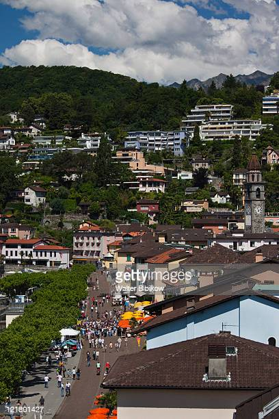 Switzerland, Ticino, Lake Maggiore, Ascona, High angle view of Piazza Motta