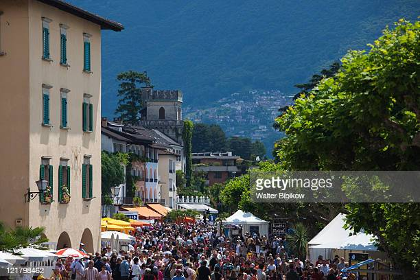 switzerland, ticino, lake maggiore, ascona, piazza motta by lakefront - ascona stock pictures, royalty-free photos & images
