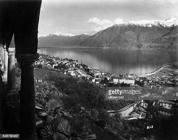 Switzerland Ticino Locarno View of the pilgrimage church on the city Locarno ca 1925 Photographer Alfred Gross Published by 'Zeitbilder' 40/1925...