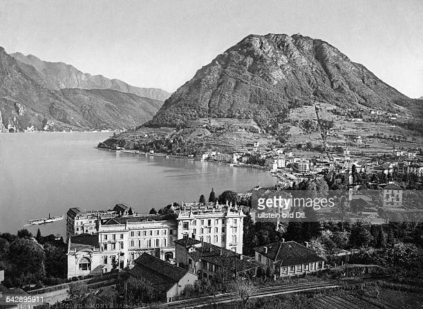 Switzerland Ticino Lugano and lake Lugano date unknown around 1925 photocrome