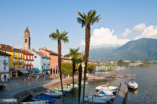 switzerland, ticino, view of harbour - ticino canton stock pictures, royalty-free photos & images
