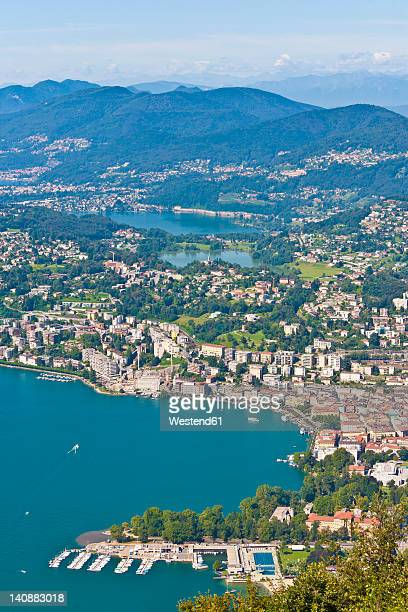 switzerland, ticino, view of lugano city with lake lugano - スイス ルガーノ ストックフォトと画像