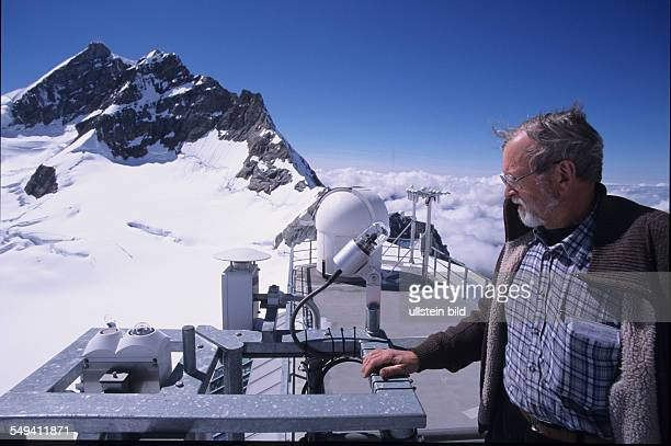 Switzerland, Top of Europe, the sphinx observatory. Research station, the mountain Monk in the background