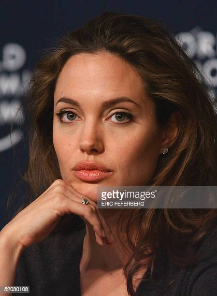 US movie star Angelina Jolie Goodwill Ambassador of the United Nations High Commissioner for refugees listens during a press conference at the World...