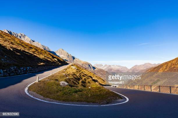 switzerland, valais, alps, furka pass, hairpin bend - hairpin curve stock photos and pictures