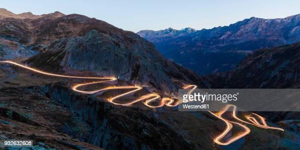 Switzerland, Valais, Alps, Gotthard pass in the evening