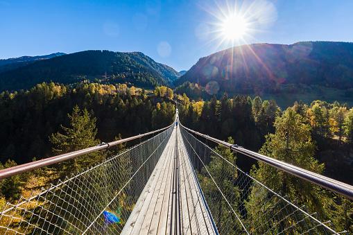 Switzerland, Valais, Goms Bridge, swing bridge - gettyimageskorea