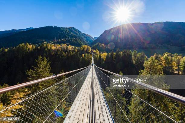 switzerland, valais, goms bridge, swing bridge - suspension bridge stock pictures, royalty-free photos & images