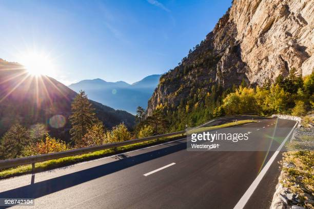 switzerland, valais, mountain road near leukerbad - mountain road stock pictures, royalty-free photos & images