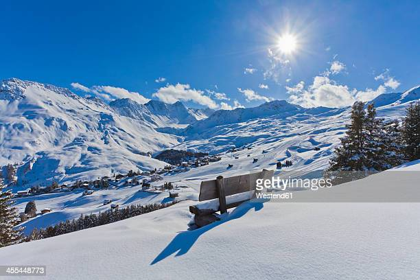 switzerland, view of mountains covered with snow at arosa - tal stock-fotos und bilder