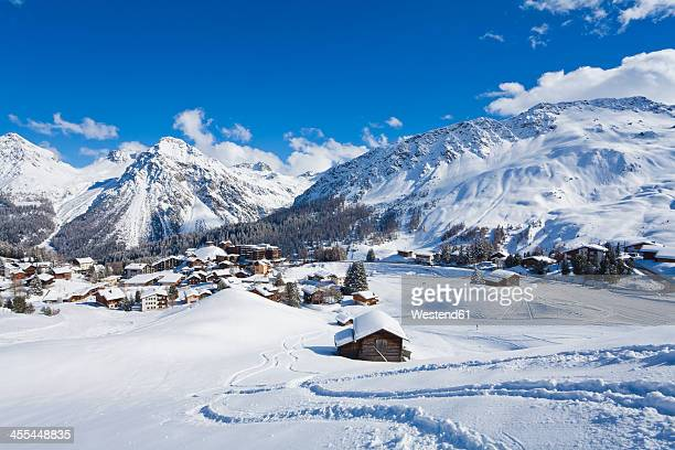 switzerland, view of mountains covered with snow at arosa - european alps stock photos and pictures